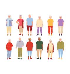 Old people cartoon set group grandparent vector
