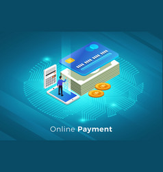online payment technology vector image