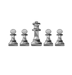 outline chess pawns and king vector image