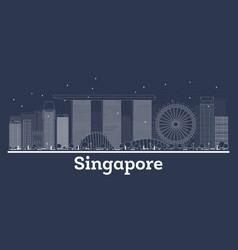 outline singapore city skyline with white vector image