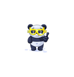 panda thumbs up with glasses crypto currency vector image