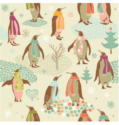 Penguins Christmas pattern vector