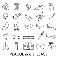 plague and disease theme simple black outline vector image