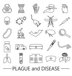 Plague and disease theme simple black outline vector