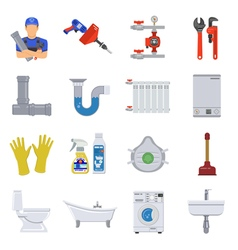 Plumbing Service Flat Icons Set vector