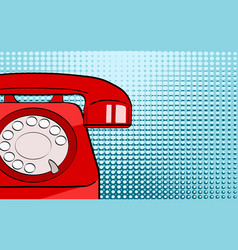 pop art background red old phone on bright dot vector image