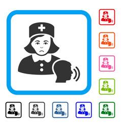 Psychotherapist nurse talking framed unhappy icon vector