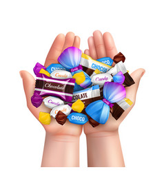 realistic candies heap composition vector image