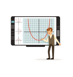 Schoolboy working with an interactive whiteboard vector
