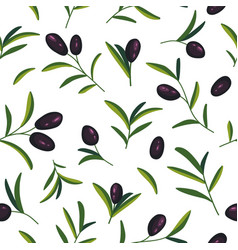 seamless pattern with black olive branches vector image
