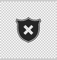shield and cross x mark icon isolated vector image
