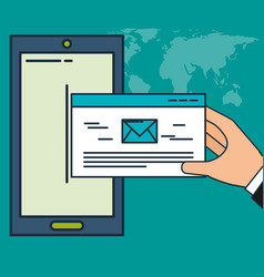 smartphone email communication digital marketing vector image