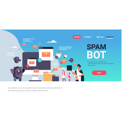 Spam bot email spamming attack robot computer vector