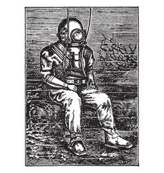 Standard diving dress vintage vector