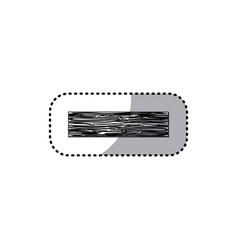 sticker monochrome rectangular piece wooden board vector image