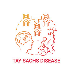 Tay sachs disease red gradient concept icon vector