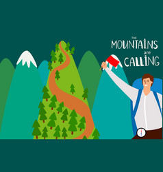 the mountains are calling flat background vector image