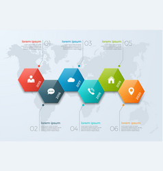 timeline chart infographic template with 6 options vector image
