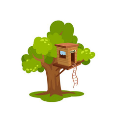 Treehouse wooden house on tree for kids outdoor vector