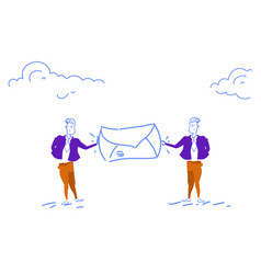 Two businessman holding mail envelope people chat vector