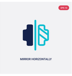 Two color mirror horizontally icon from geometric vector