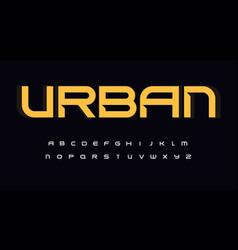 urban wide alphabet sans serif font with bevel vector image