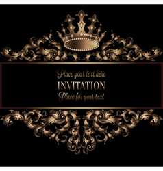 Vintage gold invitation card with black background vector