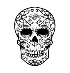 Vintage mexican sugar skull isolated on white vector