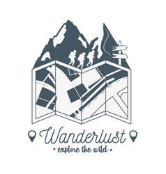 Wanderlust label with forest scene and paper map vector
