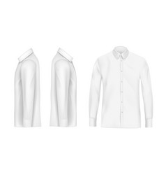 White male shirt with long sleeves and buttons vector