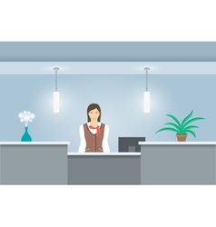 Woman receptionist in uniform stands at reception vector