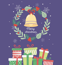 wreath bell gift boxes snowflakes merry christmas vector image