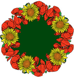 Wreath of red blossoming poppies and yellow vector