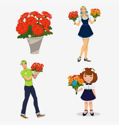 young people with flowers vector image