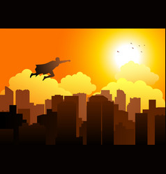 cartoon silhouette of a superhero flying on vector image vector image