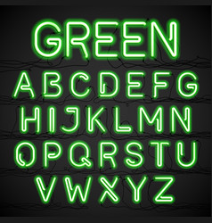 green neon light alphabet with cable vector image vector image