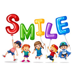 happy children and balloons for word smile vector image
