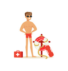 male lifeguard in red shorts with equipment on the vector image vector image