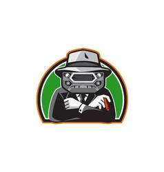 Mobster Car Grille Face Half Circle Retro vector image vector image