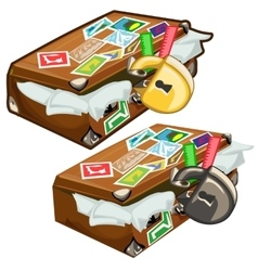 Old filled suitcase with marks closed on padlock vector