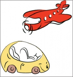 plane and car vector image vector image