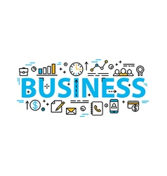 Business word flat style banner with thin line vector image