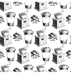 coffee production hand drawn seamless pattern vector image