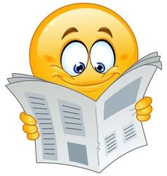 emoticon with newspaper vector image vector image