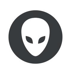 Monochrome round alien icon vector image