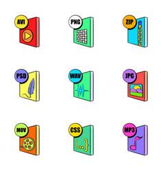 multimedia file icons set cartoon style vector image