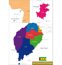 Sao Tome and Principe map vector image vector image