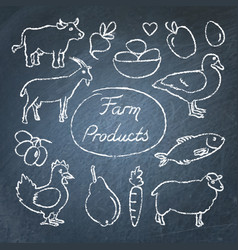 set of farm food icons in sketch style on vector image
