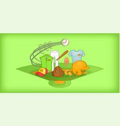 baseball horizontal banner cartoon style vector image vector image