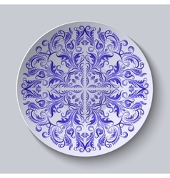 Circular plate with blue ethnic ornament vector